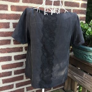 Theory black lace classy blouse